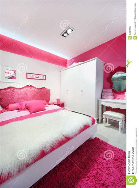 pink white beautiful bedroom stock photo image