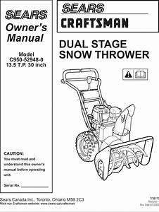 Craftsman C950 52948 0 User Manual Snow Thrower Manuals