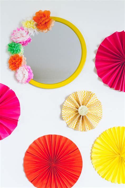 diy crepe paper flower mirror decor diy mexican fiesta