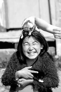 Puppy massage | An inuit girl giving a head massage using ...