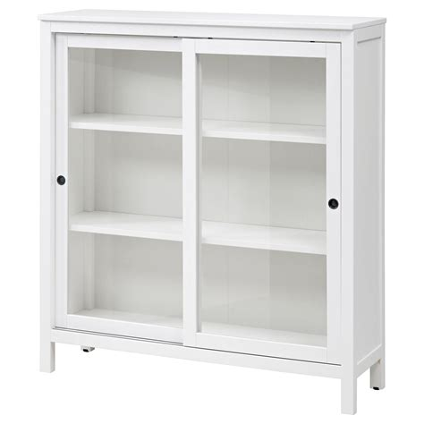 sideboard with hutch hemnes glass door cabinet white stain 120x130 cm ikea