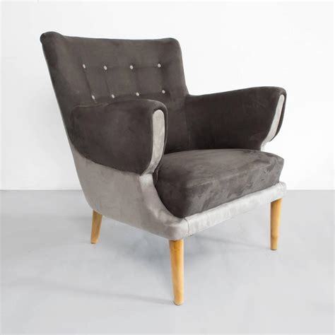 scandinavian modern two tone upholstered lounge chair with