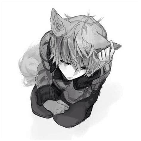 anime boy neko ears cat manga wolf tail cute guy monochrome fox boys male kawaii pointless arrow he guys myanimelist