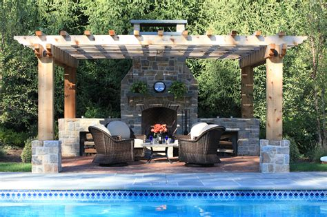 pool pergola patio and a fireplace outdoor fireplaces
