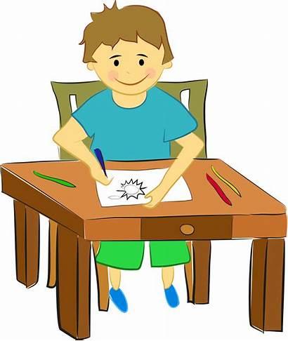 Sitting Boy Drawing Child Sun