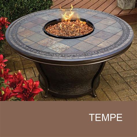 Agio Tempe 48 Inch Round Slate Top Gas Fire Pit Table