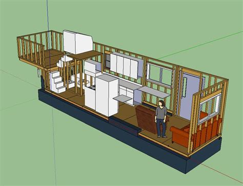 Tiny House Layout Has Master Bedroom Over Fifth-wheel Hitch, With Stairs Up To More Loft Space