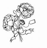 Coloring Peonies Bouquet Flowers Peony Adult sketch template