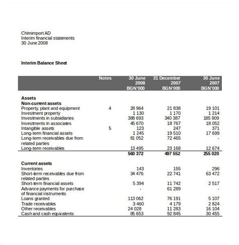 income statement template   word excel