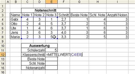 excel notenauswertung  im