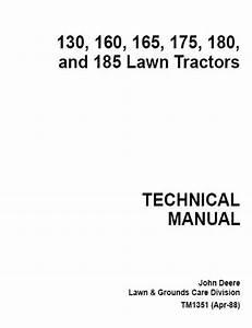 John Deere 130 160 165 175 180 185 Lawn Tractors Tm1351