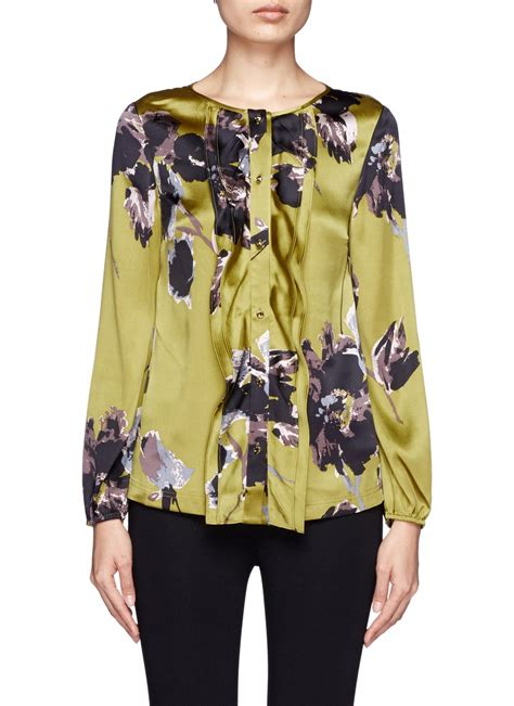 st john floral silkblend blouse  multicolor multi