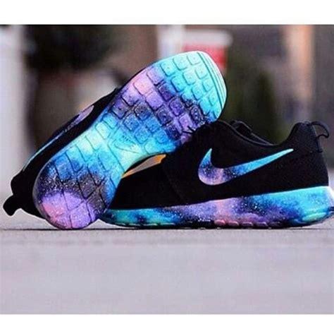 sepatu sport flowers black blue galaxy nike pink purple rainbow