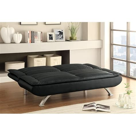 black leather sofa futon coaster 500055 black leather futon steal a sofa