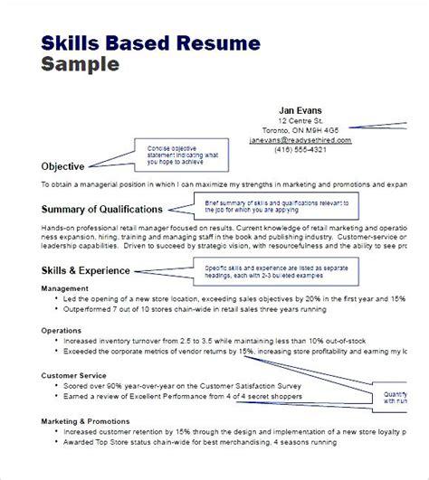 skills based resume sle pdf free sles exles