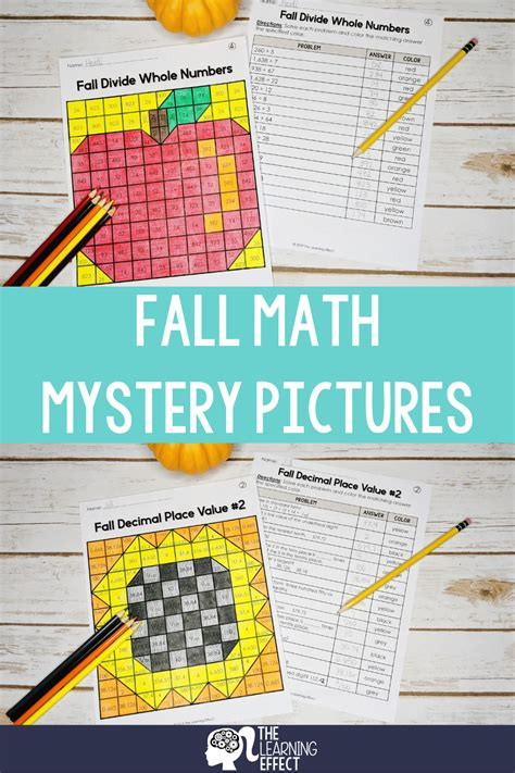 fall math mystery pictures decimal place