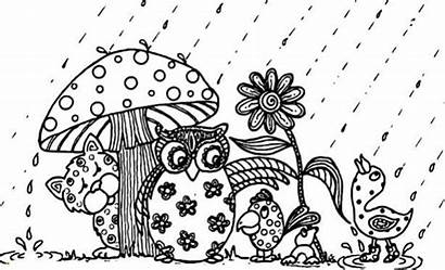 Coloring Pages April Animals Rain Flowers Animal