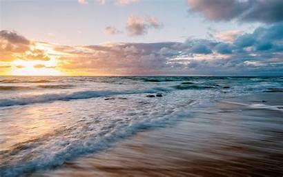 Waves Ocean Sunset Clouds Surf Sea Wallpapers