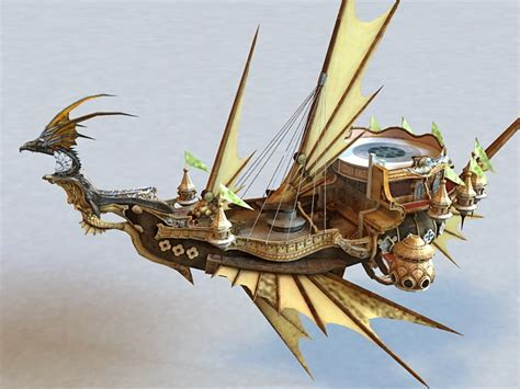 Steampunk Dragon Airship 3d model 3ds Max files free
