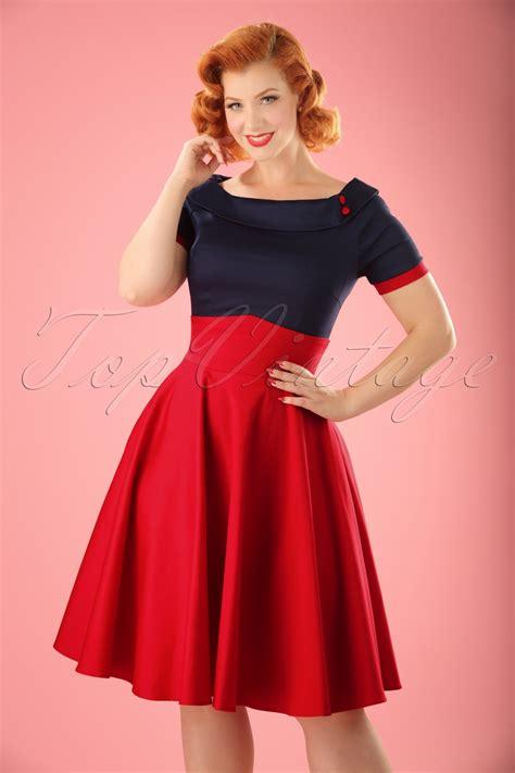 darlene swing dress  navy  red