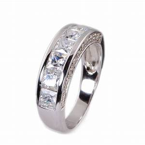 Mens Sterling Silver Cz Wedding Band Ring Size 7 13 EBay