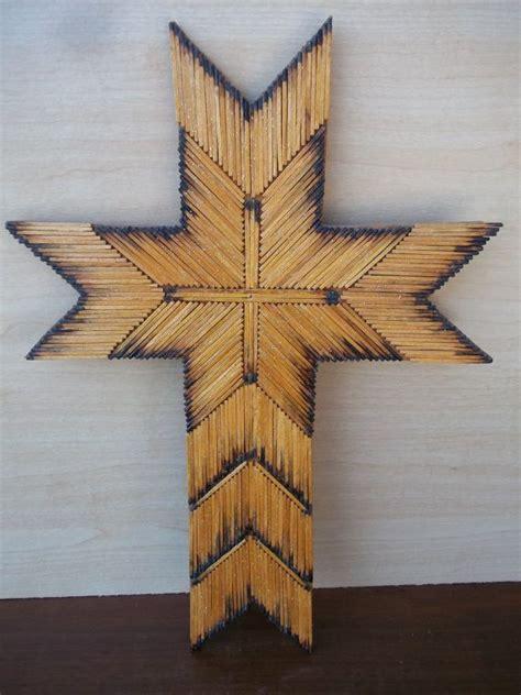 vintage matchstick cross tramp art cross crafts