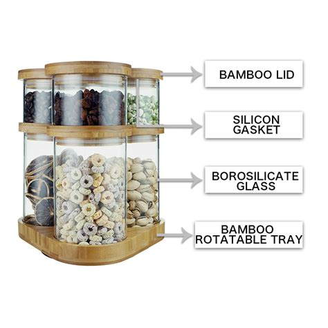 set   stackable borosilicate glass canister jar  bamboo lid  rotatable tray high