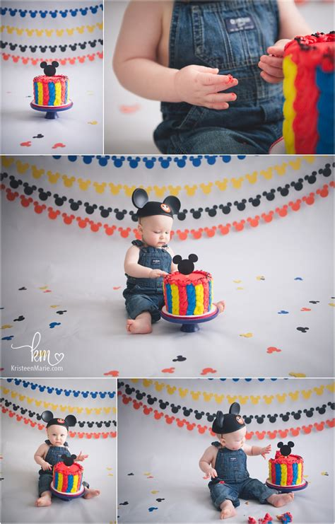mickey mouse cake smash st birthday session  kristeenmare
