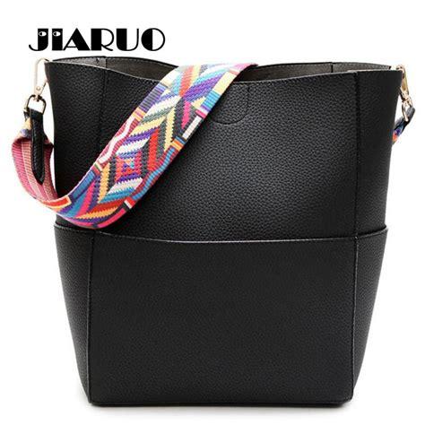 luxury brand designer bucket bag women leather wide color strap shoulder bag handbag large