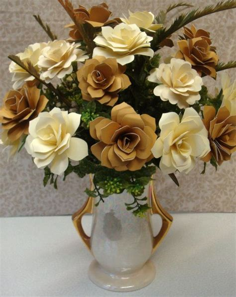 ivory  gold paper flower arrangement perfect