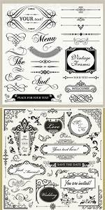 vintage wedding ornaments vector vector graphics blog With classic decorative wedding invitations vector
