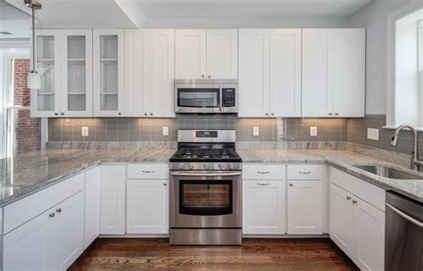 glass subway tiles for kitchen backsplash kitchens with white cabinets and granite countertops