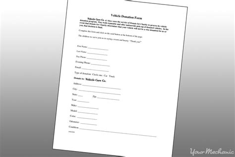 vehicle donation form how to get rid of your car yourmechanic advice