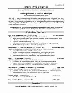 Restaurant Management Resume Examples Professional Experience For Accomplidhed Restaurant