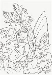 Fairy and Rose Drawing Outline