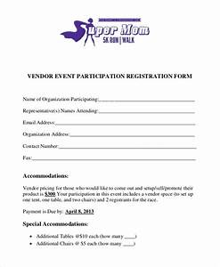 sample vendor event form 10 free documents in word pdf With participant registration form template