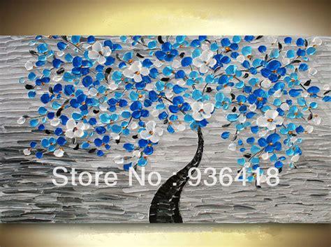Large Custom Modern Blue Tree Acrylic Impasto Palette