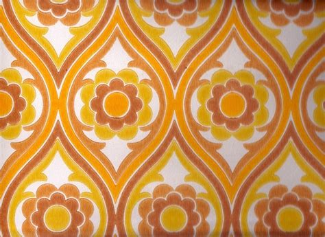 Vintage 1970s Wallpaper  Brown Funky Flower  Price Per