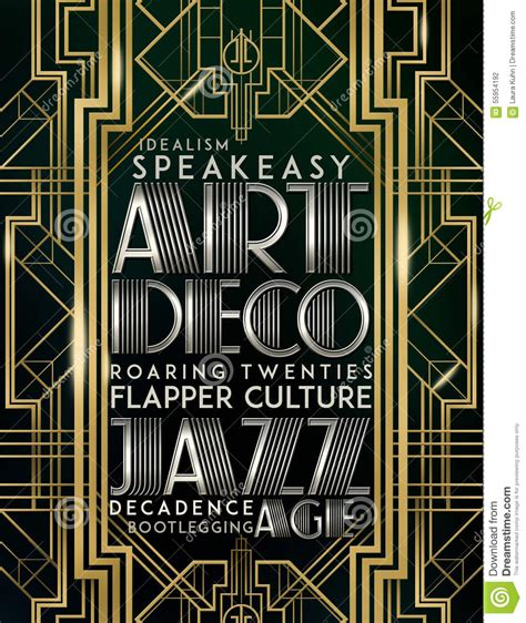 gatsby style deco jazz era stock illustration image 55954192 bookstore speakeasy ad