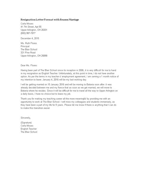 Resignation Letter Format With Reason Marriage | Templates at allbusinesstemplates.com