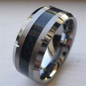10MM MEN39S TUNGSTEN CARBIDE WEDDING BAND RING With BLACK