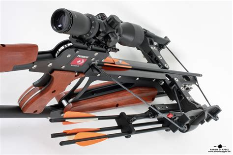 arm brust scm twinbow ii sixpack riser crossbow at arrow in apple