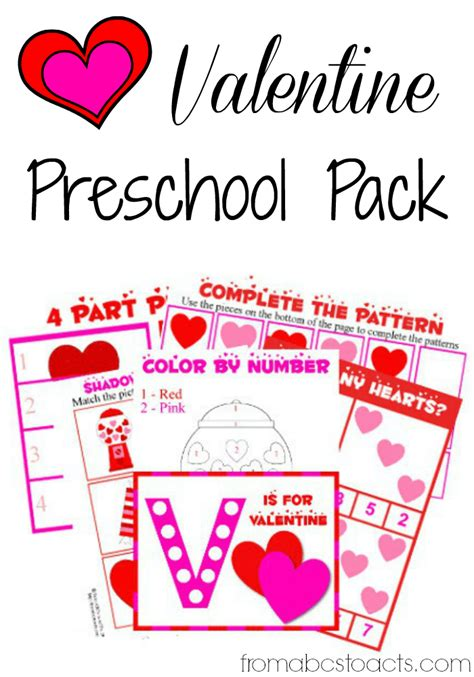 preschool pack from abcs to acts 461 | Valentine Preschool Pack