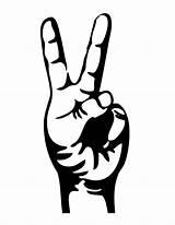 Coloring Peace Finger Fingers Gambar Pis Clipart Keren Tangan Paling Genius sketch template