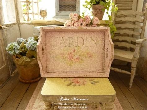 Lade Shabby by Miniature Shabby Tray In Wood Pink Distressed Chromo