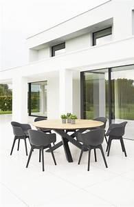 Modern Aluminum Teak Round Geo Dining Table Farm House