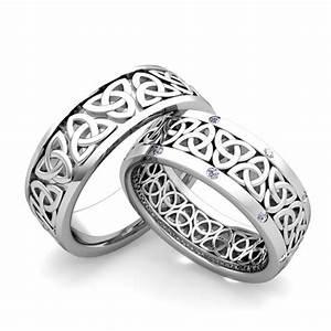 custom matching celtic wedding ring band with diamond gemstone With matching celtic wedding rings