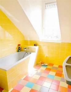25 modern bathroom ideas adding sunny yellow accents to With colorful tiles for bathroom