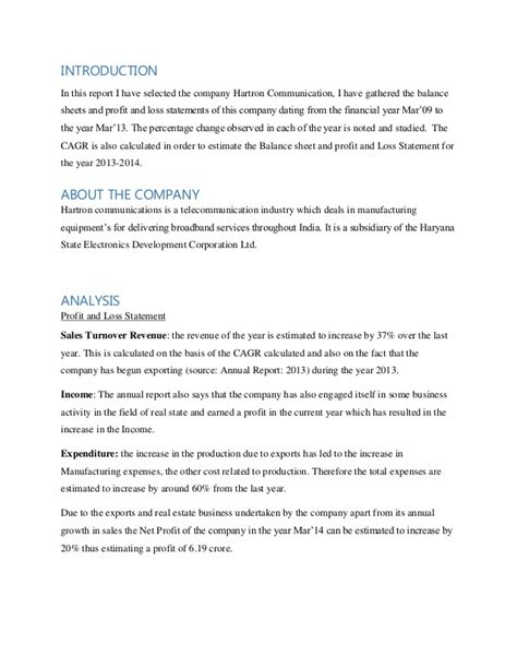 hartron communications balance sheet and profit and loss statement a