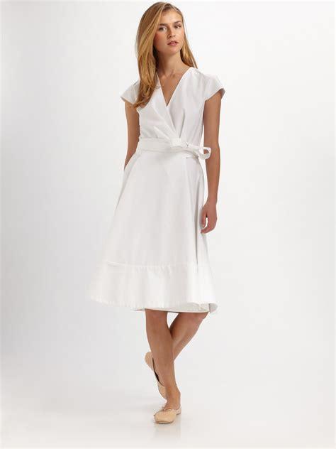 white dresses chloé cotton cap sleeve wrap dress in white lyst